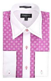 RM1083 Microfiber Design Two Tone Geometric Regular Fit Pink/White