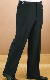 QY51L Polyester Plain Front Liquid Jet Black Tuxedo Pants