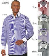 PN_H51 Stylish Fashion Stripe Shirt w/ solid accent cuffs
