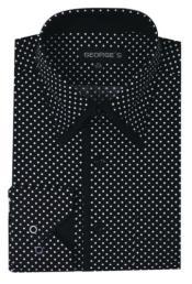 PN34 100% Cotton Mini Polka Dot Design Dress Shirt