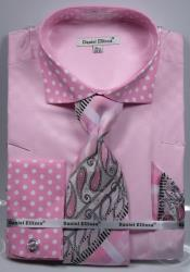 SD16 Polka Dot Dress Shirts French Cuffed Matching Shirt