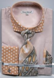 SD18 Polka Dot Sand Dress Shirts French Cuffed Matching