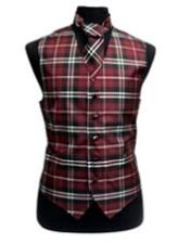 JSM-3287 Mens Black/White/Burgundy Slim Fit Polyester Plaid Design Vest/Bow