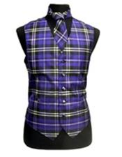 JSM-3291 Mens Black/White/Purple Slim Fit Polyester Plaid Design Vest/Bow