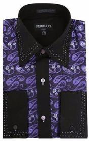 RM1086 Purple/Black Microfiber Design Paisley Regular Fit Dress Shirt