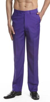 AA472 Dress Pants Trousers Flat Front Slacks Purple color