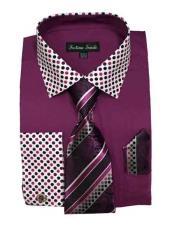JSM-1458 Mens Cotton Blend Rose Purple Solid/Polka Dot Pattern