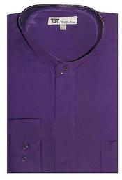 AA416 Dress Shirt with no collar mandarin Collar Purple
