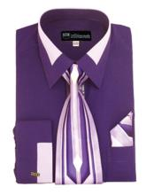 JSM-651 Mens Fashion Purple French Cuff Dress Shirt Matching