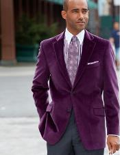 RM1242 Notch Lapel Two-Button Pure Cotton Velvet Purple color