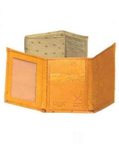 FJ4527 Ferrini Full Quill Ostrich Trifold Wallet