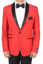 mens Red 1 Button Viscose