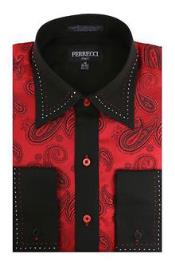 RM1087 Red/Black Microfiber Design Paisley Regular Fit Dress Shirt