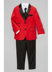 JSM-5011 Boys Red And Black Lapel Boy Boys And