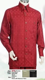 GS612 2PC Set trendy casual Suit in Deep red