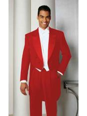 SM890 Hot red color shade Basic Full Dress Tailcoat
