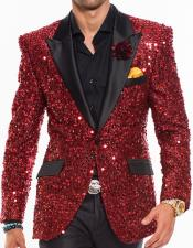 Mens Sequin paisley Red