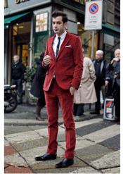 red color shade Corduroy Suit