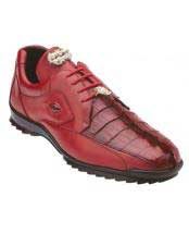 JSM-1230 Mens Belvedere Genuine Hornback Crocodile Red Sneaker