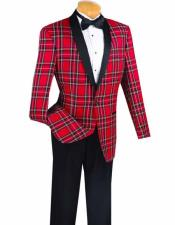 Mens Red Shawl Lapel Plaid
