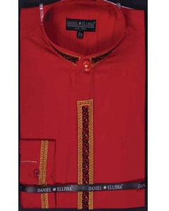 SM657 red color shade Dress Shirt Fancy Stitched Embroidery