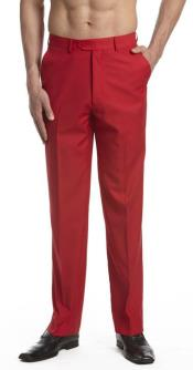 AA465 Dress Pants Trousers Flat Front Slacks red color