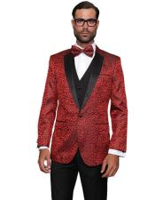 JSM-4341 Mens Sequin Paisley Dinner Jacket Tuxedo Looking Party