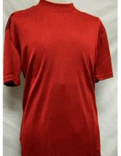 Mens Red Stylish Mock Neck