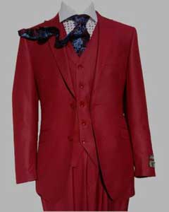 SM447 Three Piece red color shade Peak Lapel Slim