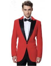 Mens Red Jacket Black Lapel