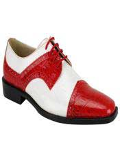 JS355 Mens Fashion Two Toned Red/White Dress Shoe