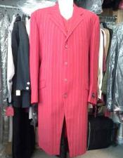 JSM-1089 Mens Red And White Fashion Long Pinstripe ~