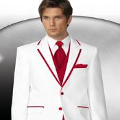 PN-6 2 Button Style White Tuxedo With red color