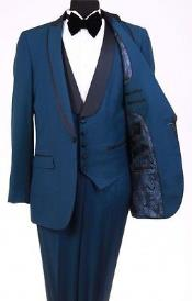 RM1112 Bryan Michaels Flat Front Trousers Shawl Collar Indigo