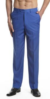 AA468 Dress Pants Trousers Flat Front Slacks royal blue