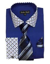 JSM-1456 Mens Royal Blue Solid/Polka Dot Pattern Cotten Blend