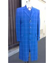 blue pastel color Plaid Window Pane Long length Zoot