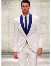 AP654 White and Royal Blue Suit For Men Perfect