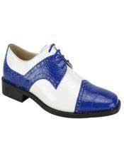JS354 Mens Fashion Two Toned Royal/White Dress Shoe