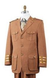 AA445 Safari Rust Nailshead Military Pocket 1940s Mens Suits