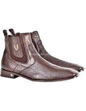 JSM-1778 Mens Vestigium Genuine Sharkskin Chelsea Brown Boots