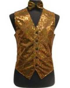 AD28K Satin Shiny Sequin Vest/bow tie set Gold