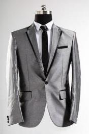 UniqueShinyFashionPromSharkskinBlackandSilverSuit