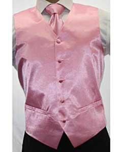 Shiny Pink Tuxedo Microfiber 3-piece