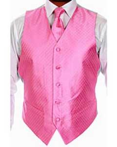 Four-piece Pink Tuxedo Vest Set