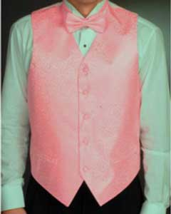 Light Pink Tuxedo Four-piece Vest