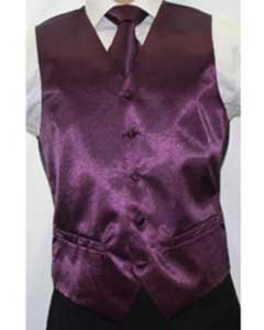 JX7822 Shiny Dark Purple color shade Microfiber 3-piece Vest