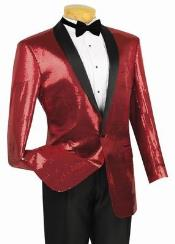 Shiny Flashy Sharkskin Metallic Scarlet