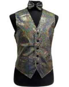 AP26K Satin Shiny Sequin Vest/bow tie set Silver Grey