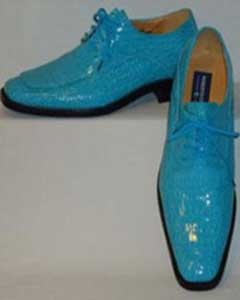 Shiny Turquoise Blue Faux